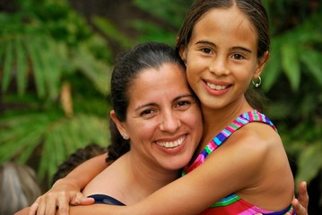 Beautiful Hispanic mother and daughter
