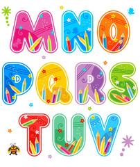 Spring or summer alphabet set letters M - V