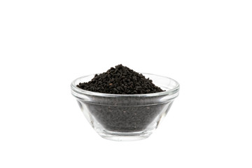 black onion seeds in glass bowl
