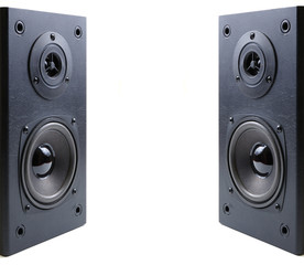 Two loudspeaker acoustics system. Isolated on white.