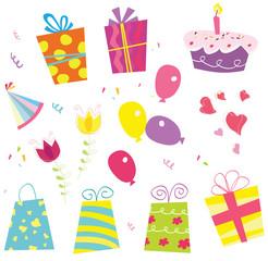 Birtyday set. Gifts, baloon, flower, cake, ribbon, hat..