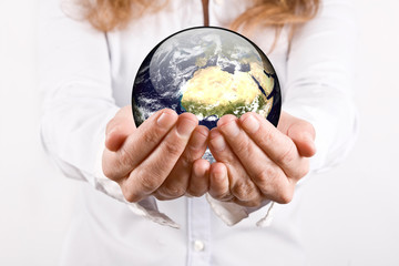 earth in woman's hands