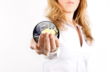 earth in woman's hand