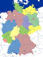 Deutschlandkarte, bunt