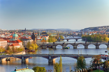 Deurstickers Praag View on Prague Bridges at sunset