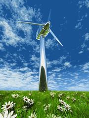 éolienne dans le pré