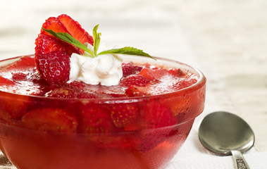 jelly with strawberry