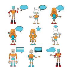 funny robots with comics bubbles