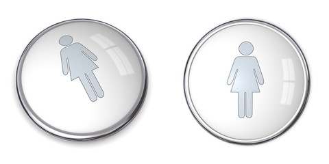 3D Button Female Pictogram
