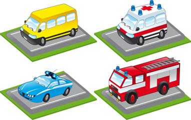 cartoon vehicles on the street