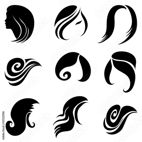 set of hair logos stock image and royalty free vector files on