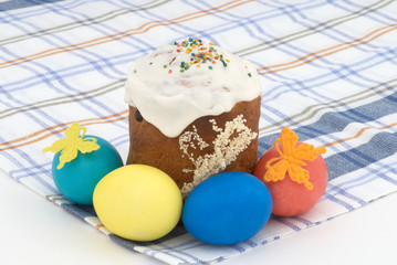 Easter cake and Easter eggs