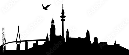 skyline hamburg stock image and royalty free vector. Black Bedroom Furniture Sets. Home Design Ideas