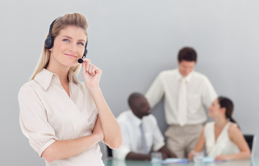 attracrive Business lady on a headset