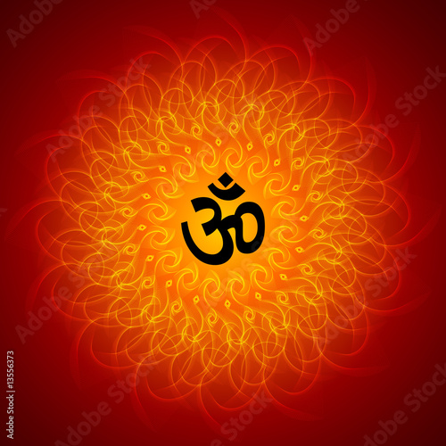 Spiritual om on mandala background stock photo and Om picture download