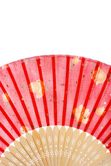 asian red fan with yellow flowers