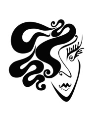 Abstract face of woman with swirls hair
