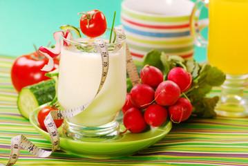 fresh spring yogurt with vegetables