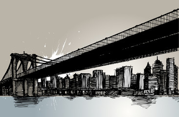 bridge and city hand drawing vector