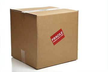 Blank Closed Cardboard Box with a Fragile Sticker