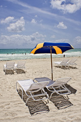 beach chairs in miami on a beautiful sunny day