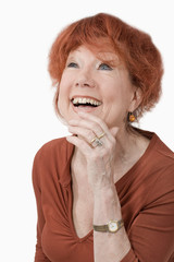 Lady with red hair laughing