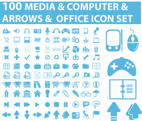 100 blue media and office icon vector set