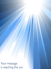 Blue color explosion or sunburst showing rays of light