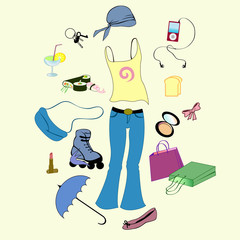 items related to sport and urban lifestyle