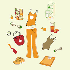 different items related to sport and healthy lifestyle