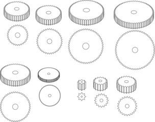 Curved Gearwheels ready for mechanical drawing