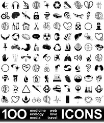 100 vector icons. HIGH RESOLUTION.