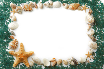 Frame composed of sea shells and sea salt