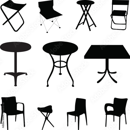 quotchair and table silhouette vectorquot Stock image and  : 500F13614743TXWteR31LQK2EKair7WtGzJ9MLhgmTU6 from www.fotolia.com size 500 x 499 jpeg 44kB