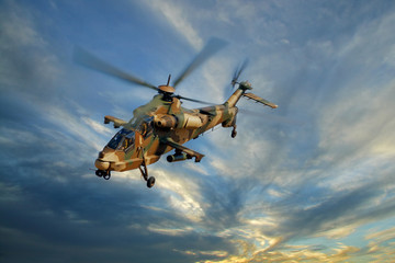 Printed roller blinds Helicopter Military helicopter against a dramatic sky