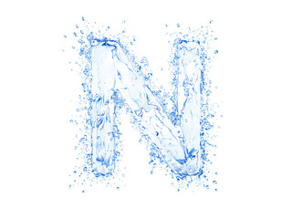 Water splash letter. With clipping path in an original size.