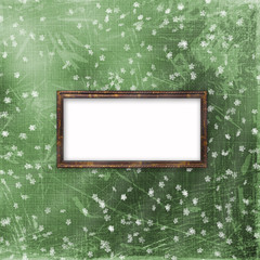 Green abstract background with frame and floral ornament