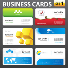 Business card set.