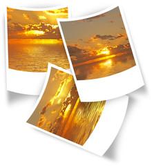 3 photos polaroïd de couchers de soleil