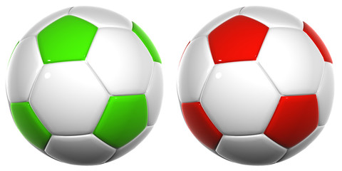 3d white, green and red leather soccer balls collection