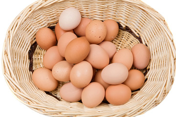 Basket with a lot of hen eggs