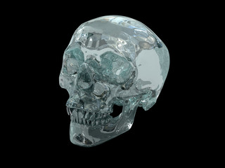 3D model of human Crystal Skull of pre-Colombian origin on black