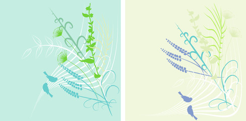 spring background with birds
