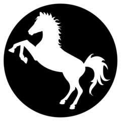 Horse silhouette in black circle
