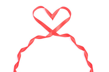 Red heart form ribbon for Valentine