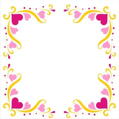beautiful frame with a pattern of hearts and leaves