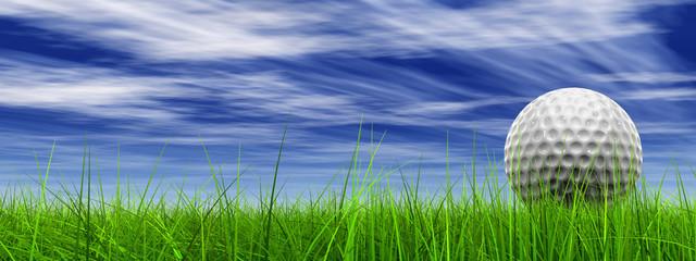 Poster Golf conceptual 3D golf ball on green grass over a blue sky