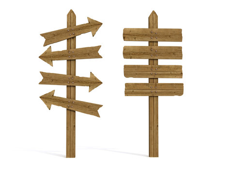 two old wooden sign post -rendering