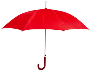Opened red umbrella isolated on white