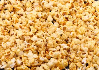 Texture of caramel popcorn. Close-up